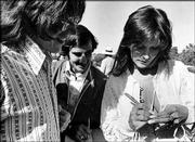 "Porn star Linda Lovelace signs autographs at Kansas University in this September 1974 file photo. Lovelace filmed parts of ""Linda Lovelace for President"" on the KU campus."