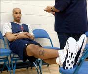 New Jersey's Richard Jefferson relaxes as he talks to the media. The Nets practiced Monday in East Rutherford, N.J.