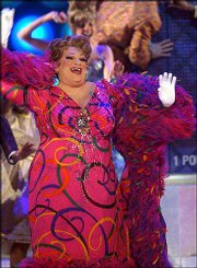 "Harvey Fierstein performs with the cast of ""Hairspray"" during the 57th Annual Tony Awards Sunday at New York&squot;s Radio City Music Hall. The musical won eight Tonys."