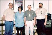 These four Honeywell Inc. employees celebrate 30 years of employment with the company. They were hired when the company was still called King Radio, which changed to Bendix/King, then to Allied Signal until its current name. From left are Dale Richling, Esther Mitchell, Doug Hinrichsen and Dale DeJarnette. All are of Lawrence, except Hinrichsen, who lives in Lecompton. The photo was submitted by Margie Hinrichsen.