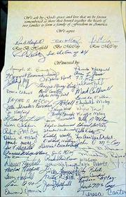 More than 60 signatures appear on the truce between the Hatfields and McCoys signed Saturday in Pikeville, Ky.