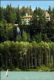 The Columbia Gorge hotel sits on a bluff above the Columbia River, a favorite haunt for windsurfers in Hood River, Ore. Windsurfing and recreation have totally changed Hood River, which in the 1980s was struggling because of the decline of the timber industry.