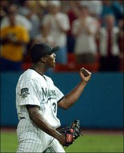 Dontrelle Willis reacts after pitching a one-hitter. Willis improved to 6-1 this season as the Florida Marlins blanked the New York Mets, 1-0, Monday in Miami.