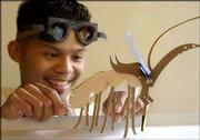 Lawrence Artist Juniper Tangpuz utilizes his smallest paper scraps to create imaginary creatures like this digging insect which has a sensory antenna and a blade-like weapon attached to its head. And the goggles he's wearing? He made those from paper, too.