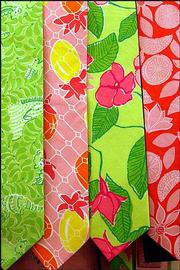 """Colorful ties are seen on display at the """"in the pink"""" retail clothing store on Newbury Street in Boston. Lilly Pulitzer clothes and ties are available at 51 independently owned Lilly Pulitzer Signature Stores nationwide."""