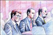 Former Westar CEO David Wittig, left, and Clinton Odell Weidner II, right, in this artist's rendering, appear in court during jury selection for their trial on charges of conspiracy, making false bank entries and money laundering. Charles D. Marvine of Wittig's defense team sits between them while more than 100 prospective jurors wait to be called and questioned during the first day of the trial.
