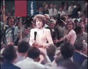 Elizabeth Dole, wife of Bob Dole, makes a speech on day three of the Republican National Convention in 1996 -- the year her husband won the Republican presidential nomination. The Doles were married in 1975.