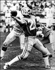Kansas University legend John Hadl, seen here in this file photo, played on the San Diego Chargers with Jack Kemp, whose career has shifted to politics.