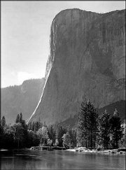 "Ansel Adams&squot; photo ""El Capitan, Merced River, Against Sun, Yosemite Valley, California,"" circa 1950, is part of the exhibit ""Ansel Adams at 100"" through Nov. 3 at the Museum of Modern Art&squot;s temporary location in Queens, N.Y."
