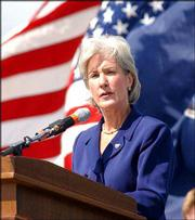 Kansas Gov. Kathleen Sebelius paid tribute to former Sen. Bob Dole's service and sacrifice, and his political leadership and legacy.