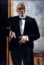 """Self-portrait in Tuxedo"" (1927) by Max Beckmann is among the paintings in a retrospective exhibit of 133 works by the German artist at the Museum of Modern Art&squot;s temporary gallery in New York&squot;s Queens borough. The exhibit runs through Sept. 29.Photo"