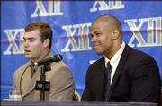 KU senior football captains Bill Whittemore, left, and Travis Watkins meet the press.