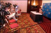 Kansas University quarterback Bill Whittemore meets with the media during Big 12 Media Day. Whittmore spoke Wednesday in Kansas City, Mo.