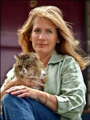 "Author Sue Fishkoff sits with her cat, Sasha, at her home in Pacific Grove, Calif. Fishkoff focuses on Lubavitcher Hasidim missionaries in her book, ""The Rebbe&squot;s Army: Inside the World of Chabad-Lubavitch."""