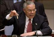 U.S. Secretary of State Colin Powell holds up a vial that he said could contain anthrax as he presents evidence of Iraq's alleged weapons programs to the United Nations Security Council in this Feb. 5 file photo.