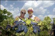 Michelle Meyer, left, and her father, Les Meyer, trim some grapevines at Holy-Field Vineyard and Winery west of Basehor. Harvesting will start this month, and the vineyard will offer a series of Sunday public harvests, where people can help pick different varieties of grapes.