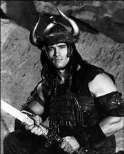 "Arnold Schwarzenegger is shown in character as ""Conan the Barbarian"" in this 1982 photo. Network broadcasters are unlikely to air Schwarzenegger&squot;s films during the campaign for the California recall election, because doing so would allow rival candidates to demand equal time."
