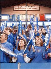 Kansas University basketball fans cheer on the Jayhawks against Arizona at Allen Fieldhouse.