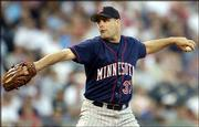 Minnesota's Kenny Rogers delivers against Kansas City. Rogers allowed one unearned run in eight innings, and the Twins trounced the Royals, 9-2, Friday night at Kauffman Stadium in Kansas City, Mo.