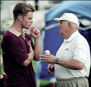 "American soccer team player Harry Keough, 75, gives pointers to actor Zachery Ty Bryan, left, in this July 10 file photo, during the shooting of the movie ""The Game of Their Lives"" in St. Louis. Bryan plays the part of Keough as a member of the 1950 soccer team. The movie focuses heavily on a group of five players in the starting lineup from St. Louis."