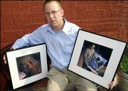 "Cleveland photographer David Hagen poses with two of his portraits in Cleveland. Hagen had an exhibition of portraits of homeless people at the Creative Impetus Gallery in Cleveland, compiled into his book ""Face to Face: Portraits of Homeless People in Cleveland."""