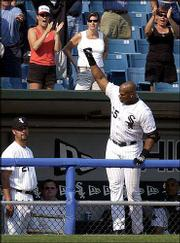 Chicago's Frank Thomas acknowledges the fans after blasting a three-run homer in the seventh inning. The Sox, who beat Cleveland, 7-3, Sunday, will play host to Minnesota tonight.