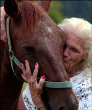 Ruby Daniels hugs and kisses her horse, Whaleyville Drunk, who has survived West Nile virus, in Suffolk, Va. Horses are among animals susceptible to the virus, which is killing more mammals and birds as it spreads across the United States.