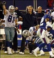 Dallas coach Bill Parcells, center, and tight end James Whalen (81) celebrate a catch by Terry Glenn, bottom, that helped set up kicker Billy Cundiff's game-winning field goal in overtime. The Cowboys defeated the New York Giants, 35-32, Monday night in East Rutherford, N.J.