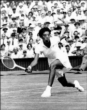 AP File Photo Althea Gibson makes a return to Darlene Hard during their title match at Wimbledon, which Gibson won 6-3, 6-2, on July 6, 1957. Gibson, a champion tennis player in the 1950s who was the first black player to win Wimbledon and U.S. national titles, died Sunday. She was 76.