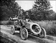 "Horatio Nelson Jackson, left, mechanic Sewall Crocker and a bulldog named Bud drive through Vermont. Jackson&squot;s historic American journey, the first coast-to-coast automobile trip, is brought to the small screen in ""Horatio&squot;s Drive: America&squot;s First Road Trip,"" airing at 8 p.m. Monday on PBS."
