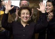Iranian lawyer and activist Shirin Ebadi appears at a news conference Friday in Paris. Ebadi won the 2003 Nobel Peace Prize for her focus on human rights.