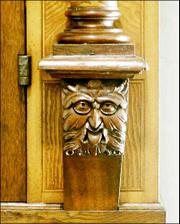 A carved face adorns a cabinet belonging to Albert Einstein.