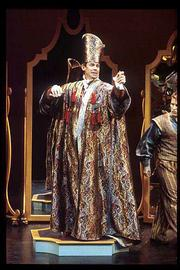 "The Emperor admires his new duds in the Kennedy Center&squot;s New Visions/New Voices production of ""The Emperor&squot;s New Clothes."" Lawrence playwright Ric Averill wrote the operatic version of the classic Hans Christian Andersen tale, which is coming Tuesday to the Lied Center for school performances."