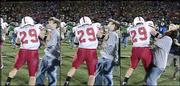 Three photos made from television show a fan being punched by Nebraska holder Kellen Huston after Missouri beat the Huskers, 41-24. Matthew Scott, 21, of Lee's Summit, Mo., claimed Tuesday he was the person assaulted by the player Saturday in Columbia, Mo.
