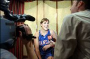 Kansas University's Blair Waltz speaks to the media during KU women's basketball media day. The Jayhawks spoke Wednesday at Allen Fieldhouse.