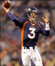 Denver quarterback Danny Kanell drops back to pass in the Broncos' 20-3 victory in a preseason game in this Aug. 29 photo. Kanell, who might be the next Tommy Maddox or Kurt Warner, is going to enjoy his time as the starter for the Broncos, for however long it lasts.