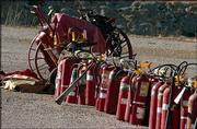 Fire extinguishers are among the items up for sale at the former Farmland Industries nitrogen plant in Lawrence.
