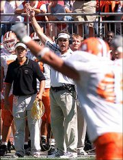 Bowling Green coach Gregg Brandon, during a game in Bowling Green, Ohio, takes his Falcons to play the Huskies Saturday at Bowling Green.