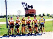 Members of the Lawrence Bicycle Club stop in West Mineral at the second-largest electric shovel in the world, Big Brutus, while on a 100-mile bicycle ride. The club traveled to Pittsburg on Sept. 7 and rode around the city and surrounding area. From left are Susan Smith, Cal Melick, Michelle Joest, Randy Breeden, Keith Dick and Paul Kemmeter. Breeden submitted the picture.