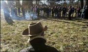 Local historians gather at the Black Jack Battlefield site east of Baldwin. About 50 historians and advocates Saturday discussed the site's history and plans for its future.