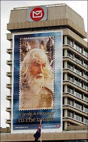 "A giant advertising sign of a stamp featuring Sir Ian McKellen as Gandalf from the movie ""Lord of the Rings: The Return of the King"" hangs on the side of a post office building in Wellington, New Zealand, as part of the buildup for the world premiere of the movie Monday in Wellington."