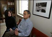 Donna and Phillip Satow sit beside a photograph of their late son, Jed, at their apartment in New York. After their son's suicide five years ago, the Satows started the Jed Foundation.