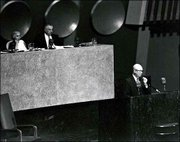"U.S. President Dwight D. Eisenhower delivers his ""Atoms for Peace"" address in this Dec. 8, 1953, file photo at the United Nations General Assembly in New York. Eisenhower&squot;s address led to the creation of the IAEA four years later."