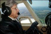 Violet Blowers, 84, flies her 1966 Cherokee 140 over New Carlisle, Ohio. The number of people age 80 and older who hold active-pilot medical certificates in the United States is 3,111 this year, up from 1,948 just three years ago, according to the Federal Aviation Administration.