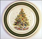 Christmas Eve is the name of this pattern of dishes, made by the Salem China Co. A dinner plate like this sells for about $15.