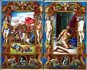 "A battle scene from ""Death of Uriah,"" left, and a depiction of ""David in Prayer,"" are images from the ""Book of Hours,"" painted by Roman artist Guilio Clovio in 1546 for Cardinal Alessandro Farnese. The book is among dozens on display at the Kimbell Art Museum in Fort Worth, Texas, until Jan. 18, part of the exhibit ""Painted Prayers: Medieval and Renaissance Books of Hours from the Morgan Library."""