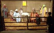 Volunteers portray biblical characters for the Living Nativity at the Vinland Fairgrounds. The Living Nativity, featuring farm animals as well as people, opened Sunday and continues tonight and Tuesday.