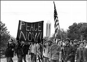 Peace march at Kansas University, 1970