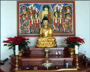 THE KANSAS ZEN CENTER DISPLAYS a Buddha sculpture. Members of the Kansas Zen Center often use the sculpture as the focus of their meditation.