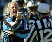 Carolina coach John Fox argues with an official during a game against Tampa Bay in this file photo. In two seasons, Fox has taken the Panthers from 1-15 to the NFC title game.